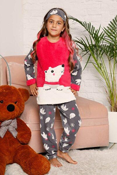 Mossta Kız Çocuk Fuşya Welsoft Kışlık Pijama Takımı