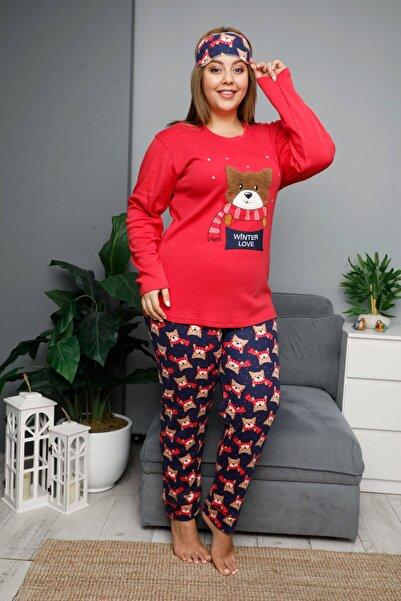 Mossta Kadın Kırmızı Kışlık Uzun Kol Battal Pijama Takımı