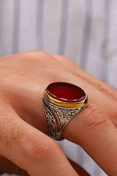 Silva Silver Kalem Işçilikli Kırmızı Akik Taşlı 925 Ayar Gümüş Erkek Yüzük