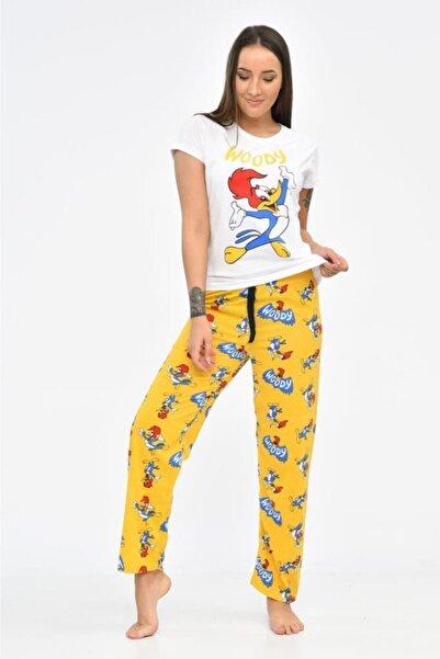 Modkofoni Baskılı Beyaz Tişört Ve Hardal Pantolonlu Pijama Takım