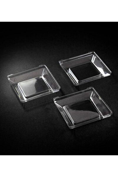 Kristal Plastik Mini Kare Tabak 6x6cm - 50 Adet (1 Paket)