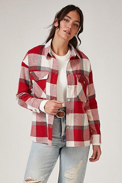 Happiness İst. Kadın Kırmızı Kareli Yünlü Ceket Gömlek DD00744