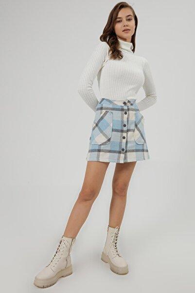 Y-London Kadın Mavi Beyaz Ekoseli Cep Detaylı Mini Etek Y20W166-4018