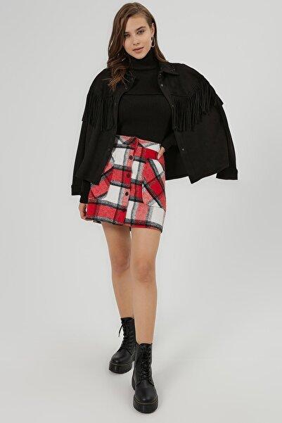 Y-London Kadın Kırmızı Beyaz Ekoseli Cep Detaylı Mini Etek Y20W166-4018