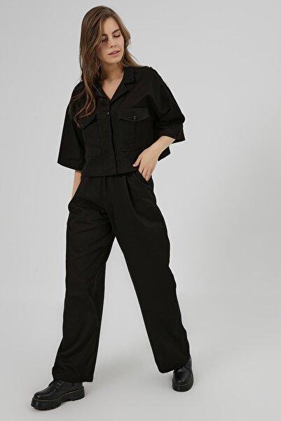 Y-London Kadın Siyah Cep Detaylı Ceket Pantolon 2'li Takım Y20W180-6546