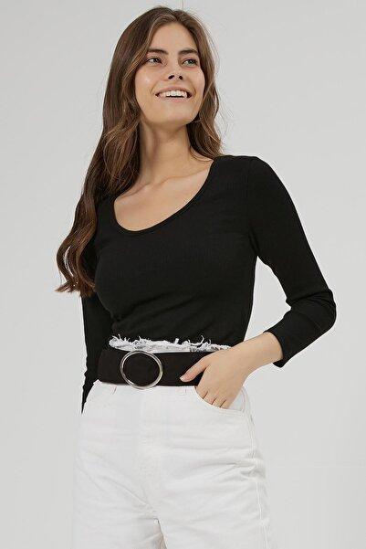 Y-London Kadın Siyah Fitilli Basic Uzun Kollu Bluz Y20W166-3965