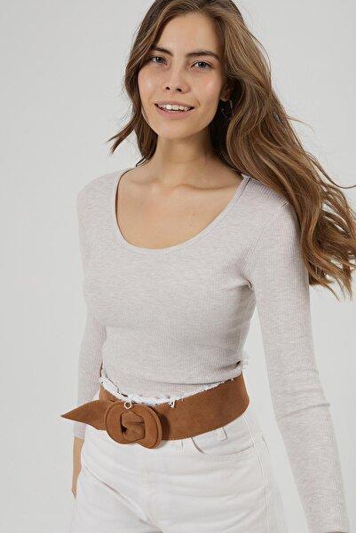 Y-London Kadın Krem Fitilli Basic Uzun Kollu Bluz Y20W166-3965