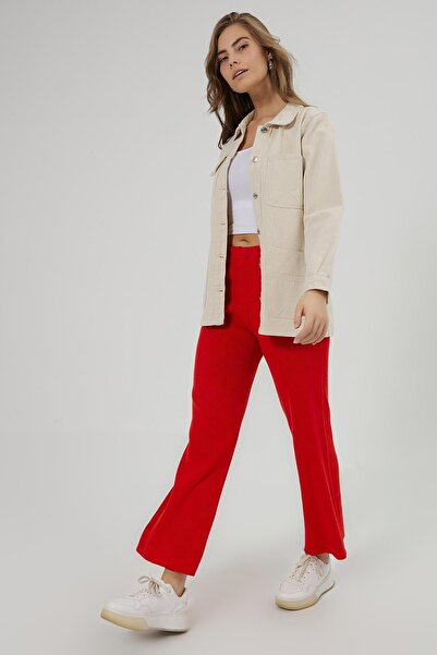 Y-London Kadın KIRMIZI Fitilli Basic Bol Paça Triko Pantolon Y20W186-1002