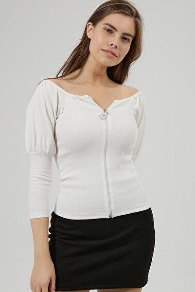 Y-London Kadın Beyaz Kol Detaylı Fermuarlı Fitilli Bluz Y20W185-1298