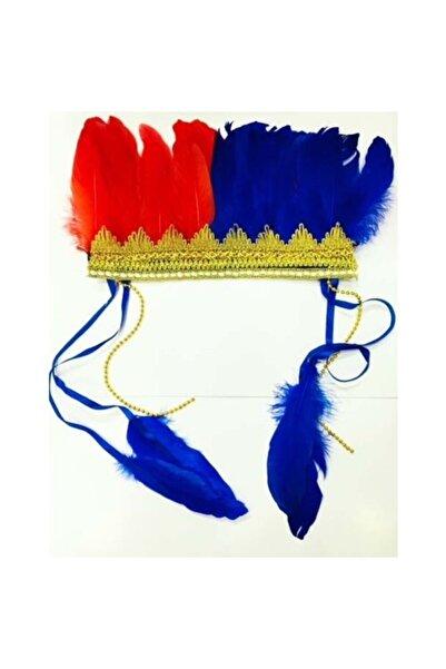 Cakes&Party Renkli Kızılderili Başlığı Tüylü Bordo Mavi