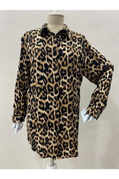 Elele Kadın Kahverengi Leopar Desen Gömlek