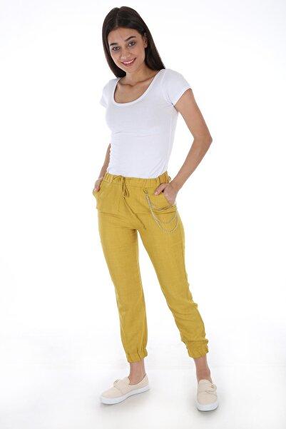 Bigdart Kadın Sarı Zincir Aksesuarlı Paça Lastikli Pantolon 6439