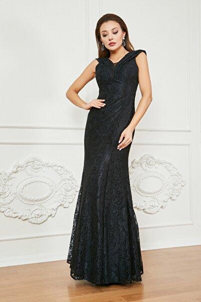Sateen Kadın Siyah Dantel Balık Abiye Elbise
