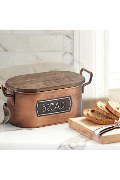 The Mia Galvaniz 17x20cm Kapaklı Ekmek Saklama Kabı Bakır Glv0501