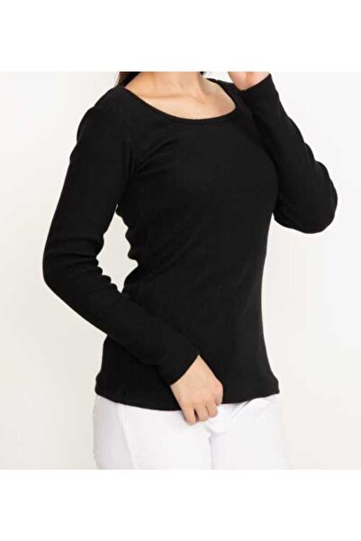 Mercan Kadın Siyah Kare Yaka Bluz