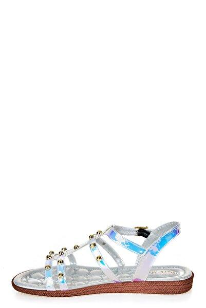 Sateen Kadın Beyaz Hologram Taşlı Sandalet