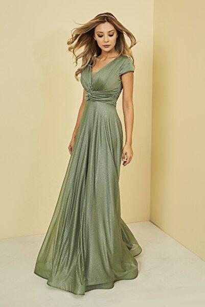 Sateen Kadın Çağla Yeşili Drapeli Uzun Abiye Elbise