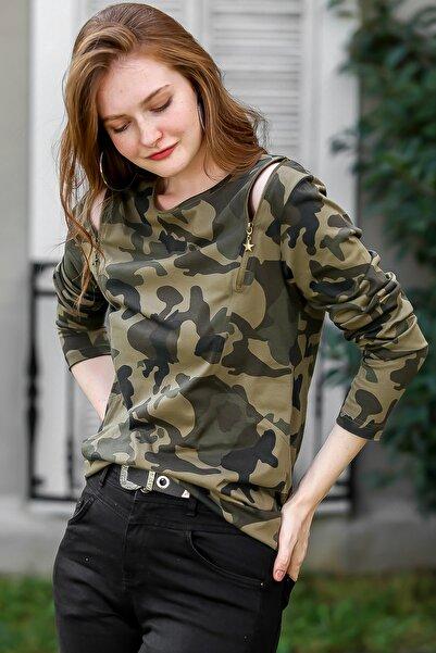 Chiccy Kadın Multi Casual Kamuflaj Desenli Omuzları Fermuar Detaylı Bluz M10010200BL95925