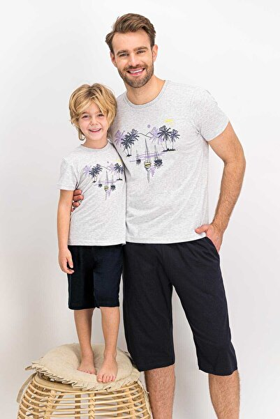 Arnetta Kısa Kol Kaprili Pijama Takmı (baba Oğul Kombin Yapılabilir)
