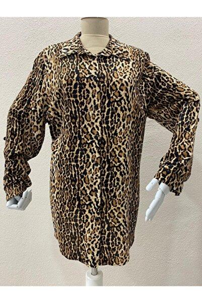 Elele Kadın Kahverengi Modern Leopar Desen Gömlek