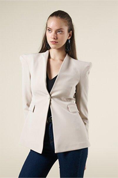 Lefon Kadın Bej Crepe Blazer Ceket