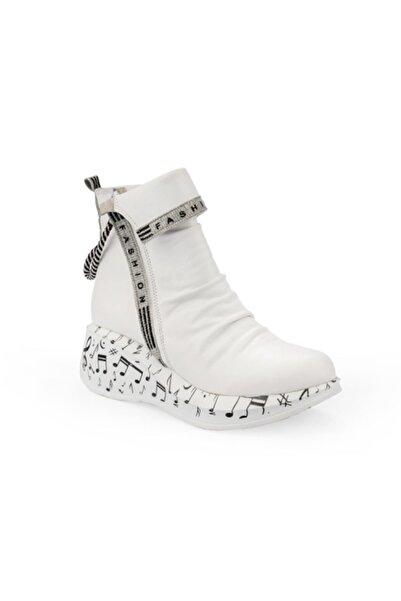 Emel Ayakkabı Kadın Beyaz Melodi Taban Tasarım Bot