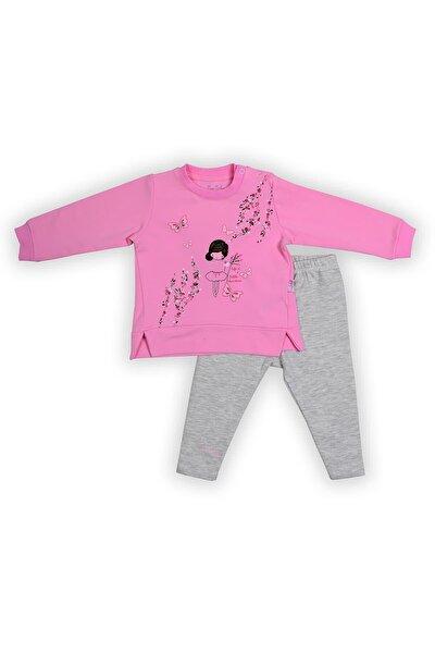 Pierre Cardin Baby Pierre Cardin Çiçekli Kız Taytlı Bebek Takımı Pembe-gri