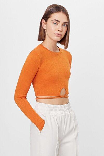 Bershka Kadın Turuncu Elastik Bağcıklı T-shirt