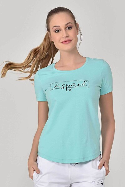 bilcee Turkuaz Büyük Beden Kadın T-Shirt GS-8132