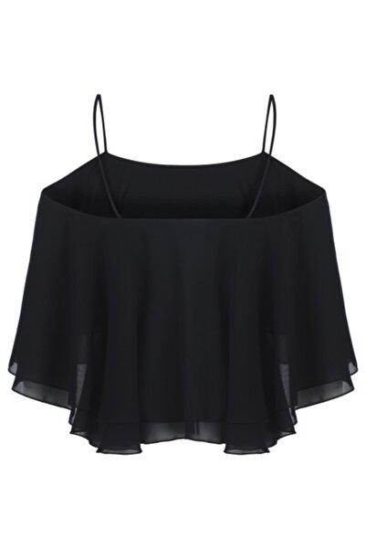 Meltem Özbek Kadın Siyah Şifon Örme Detaylı Bluz