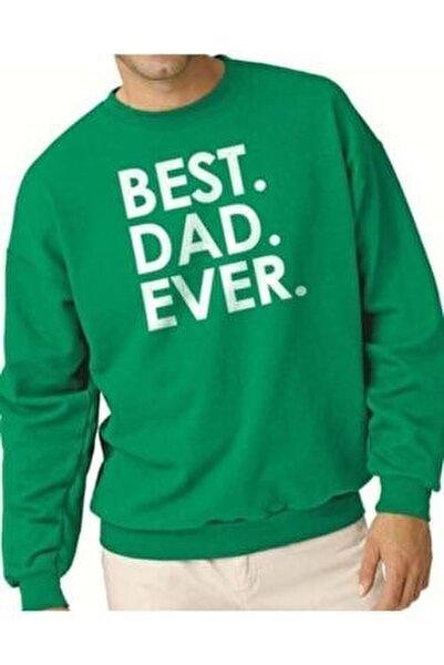 Erkek Yeşil Best Dad Ever Sweatshirt