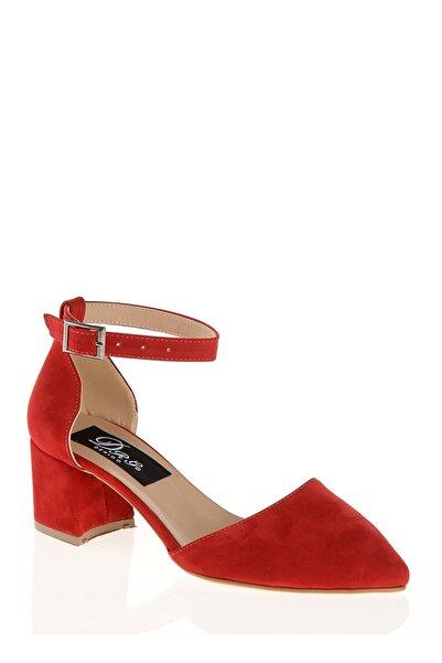 Derigo Kırmızı Süet Kadın Sandalet 39138