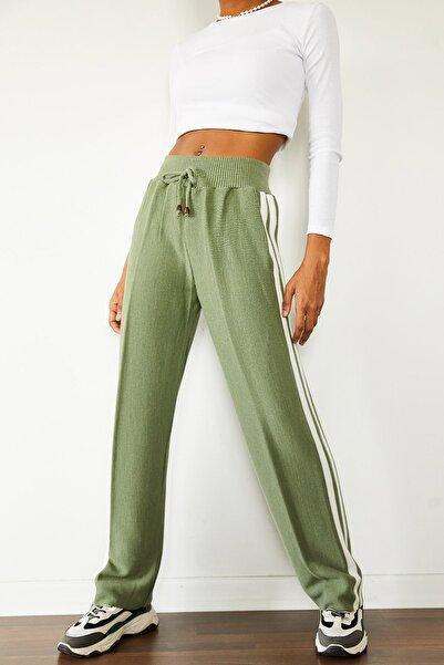 XENA Kadın Yeşil & Beyaz Yanı Şeritli Yüksek Bel Triko Pantolon 1KZK8-10777-08