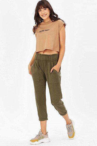 Arma Life Kadın Haki Beli Lastik Detaylı Pantolon