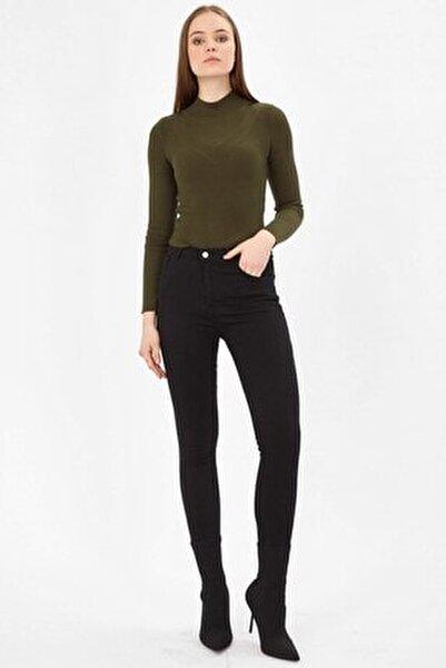 Kadın Siyah Yüksek Bel Likralı Kot Pantolon