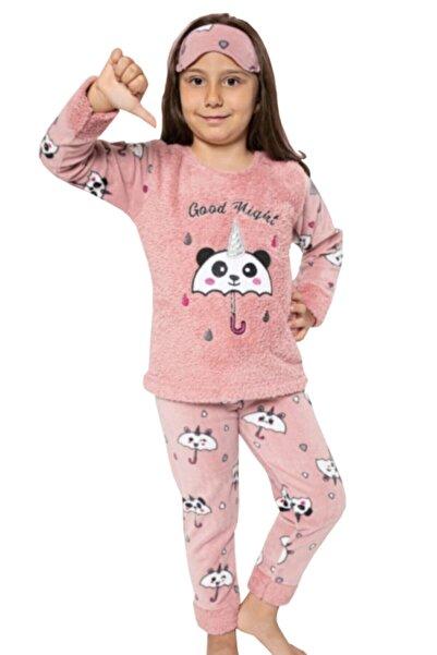 Tarık Kız Çocuk Somon Ayıcık Şemsiye Temalı Welsoftlu Polar Pijama Takımı