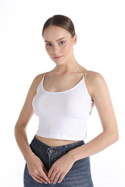 Oblavion Kadın Beyaz Ip Askılı Crop Top