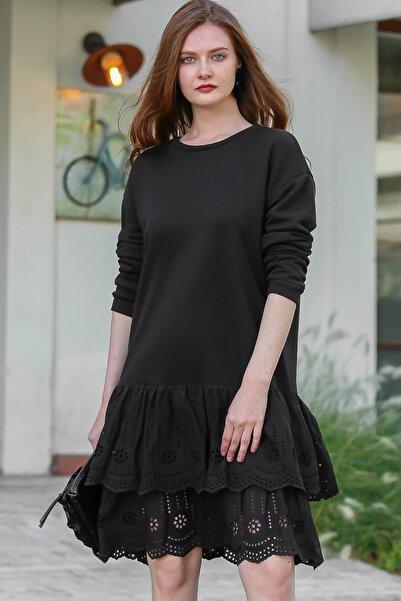 Chiccy Kadın Siyah Retro Sıfır Yaka Etek Ucu Fisto Fırfır Detaylı Elbise M10160000EL96168