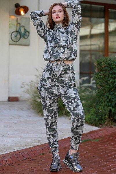 Chiccy Kadın Multı Kamuflaj Desenli Dik Yaka Beli Büzgü Detaylı Cepli Eşofman Takım M10410000ES99939
