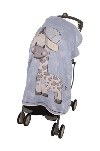 Sevi Bebe Mavi Zürafa Pano Baskılı Müslin Bebek Arabası Örtüsü Art-315