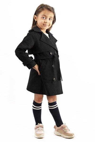 hoQuspoQus Kız Çocuk Koyu Lacivert  Beli Kemerli Trençkot