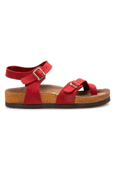Pegia Kadın Kırmızı Hakiki Deri Parmak Arası Sandalet 215513