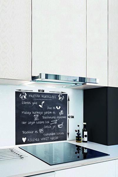 Kara Tahta Görünümlü Mutfak Kuralları | Cam Ocak Arkası Koruyucu | 52cm X 60cm