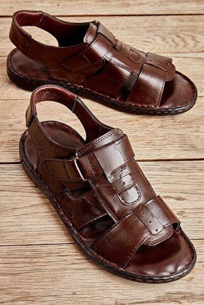 Bambi Hakiki Deri Kahve Erkek Sandalet L1557182103