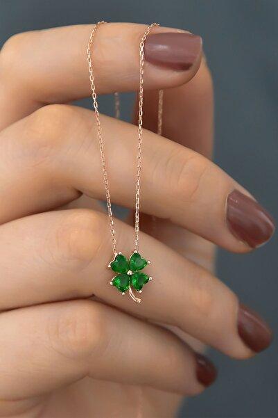 Papatya Silver 925 Ayar Gümüş Rose Kaplama Yeşil Taşlı Yonca Kadın Kolye
