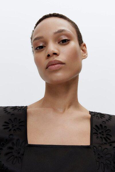 Uterqüe Kadın Siyah Çiçek Desenli İşlemeli Top 00654253