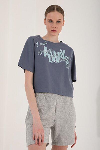 Tommy Life Kadın Asimetrik Yazı Baskılı Oversize O Yaka T-shirt - 97136
