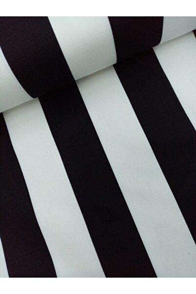 Daisy Siyah Beyaz Çizgi Desenli Duck Keten Kumaş Nano Leke Tutmaz