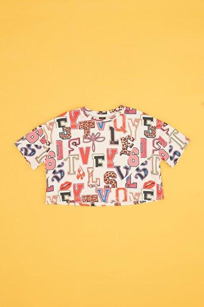 Tyess Kız Çocuk Beyaz Desenli T-shirt