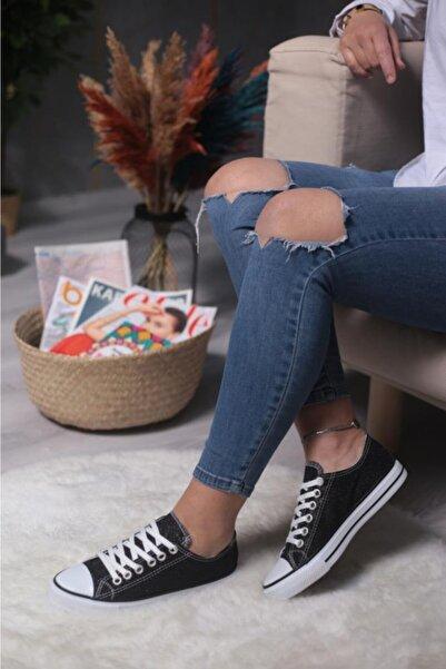 ESPARDİLE Siyah Simli Kadın Spor Ayakkabı